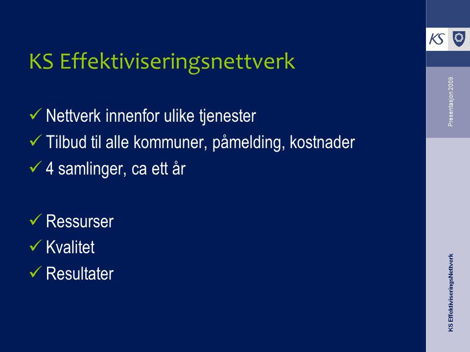 KS EffektiviseringsNettverk Presentasjon 2009 KS Effektiviseringsnettverk Nettverk innenfor ulike tjenester Tilbud til alle kommuner, påmelding, kostnader 4 samlinger, ca ett år Ressurser Kvalitet Resultater