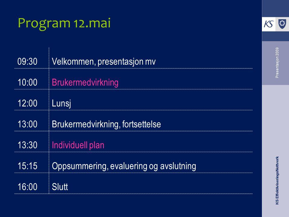 KS EffektiviseringsNettverk Presentasjon 2009 Program 12.mai 09:30Velkommen, presentasjon mv 10:00Brukermedvirkning 12:00Lunsj 13:00Brukermedvirkning,