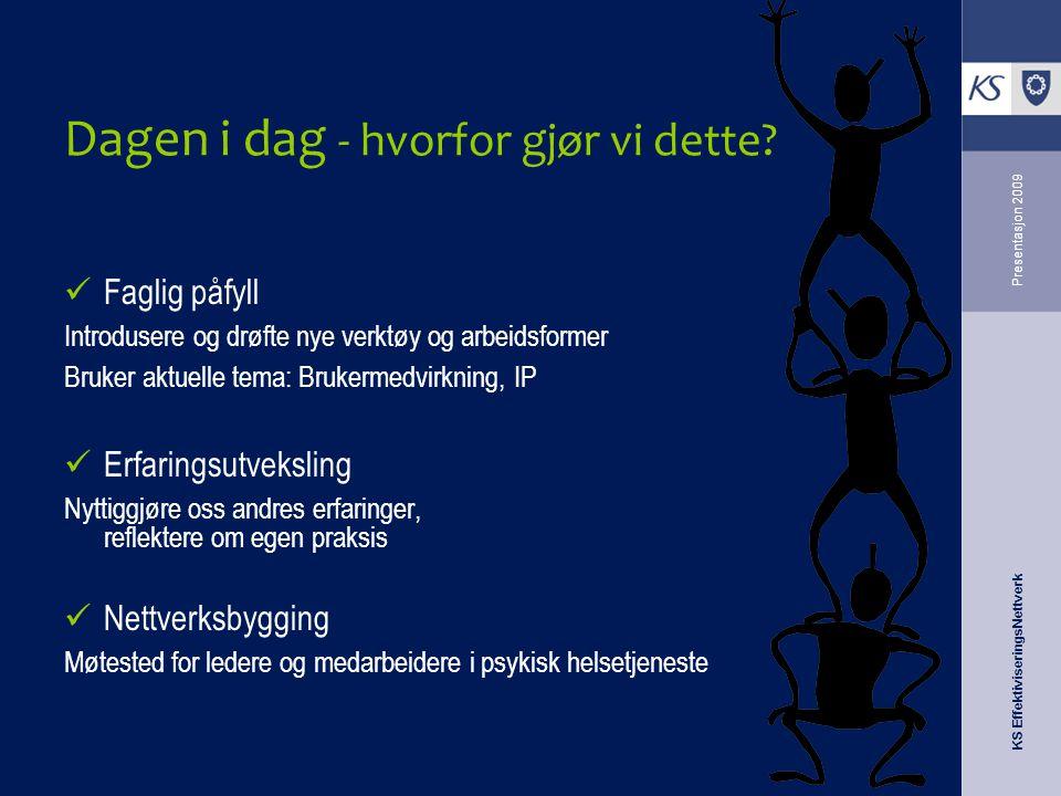 KS EffektiviseringsNettverk Presentasjon 2009 Dagen i dag - hvorfor gjør vi dette? Faglig påfyll Introdusere og drøfte nye verktøy og arbeidsformer Br