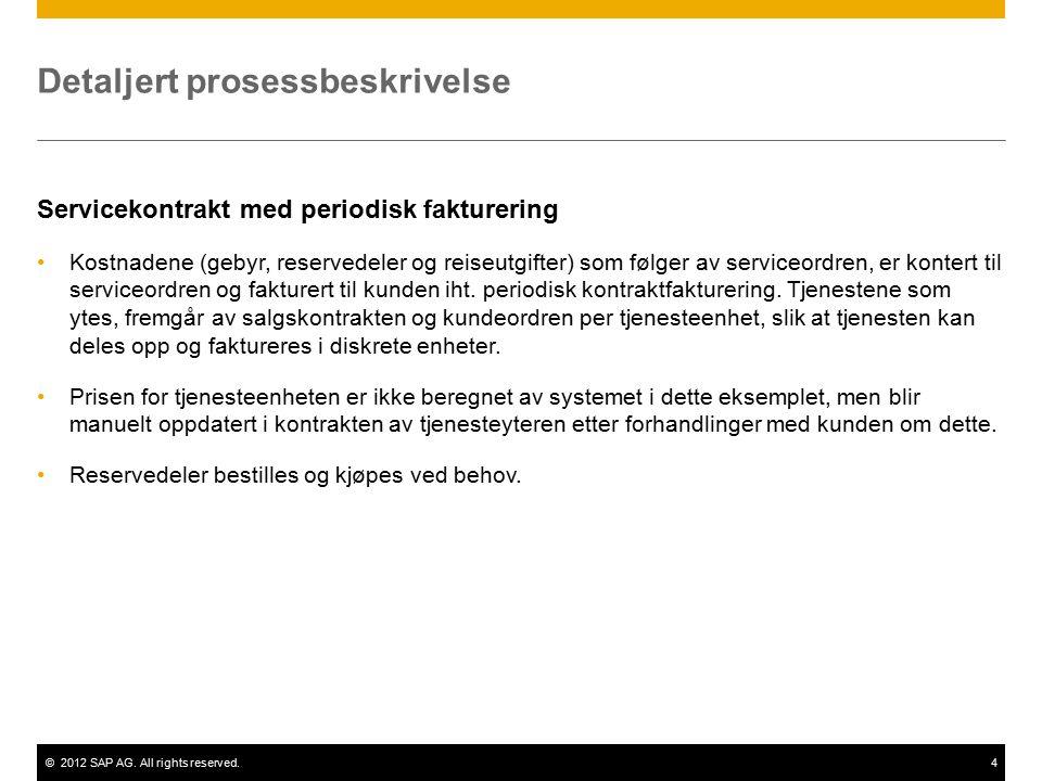 ©2012 SAP AG. All rights reserved.4 Detaljert prosessbeskrivelse Servicekontrakt med periodisk fakturering Kostnadene (gebyr, reservedeler og reiseutg