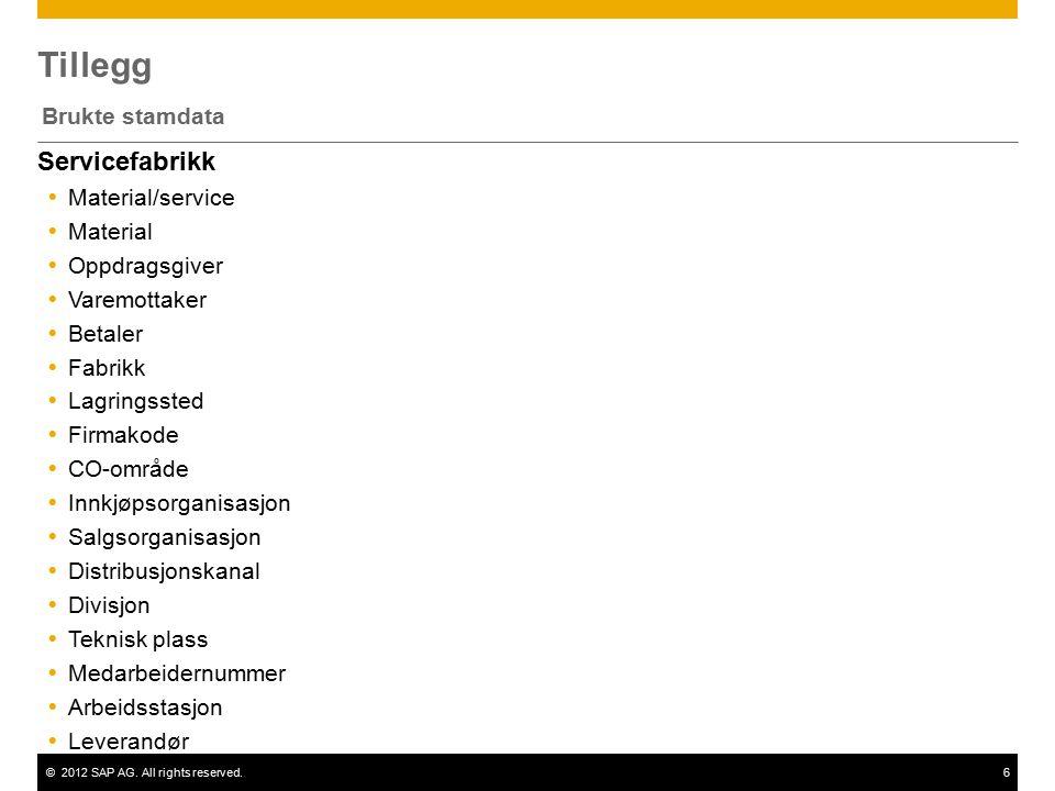 ©2012 SAP AG. All rights reserved.6 Tillegg Brukte stamdata Servicefabrikk  Material/service  Material  Oppdragsgiver  Varemottaker  Betaler  Fa