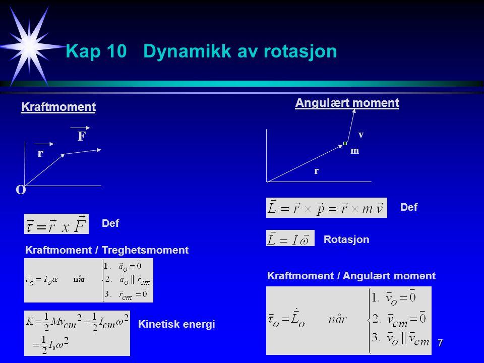 7 Kap 10 Dynamikk av rotasjon O r F r v m Kraftmoment Angulært moment Def Kraftmoment / Treghetsmoment Kinetisk energi Def Rotasjon Kraftmoment / Angulært moment