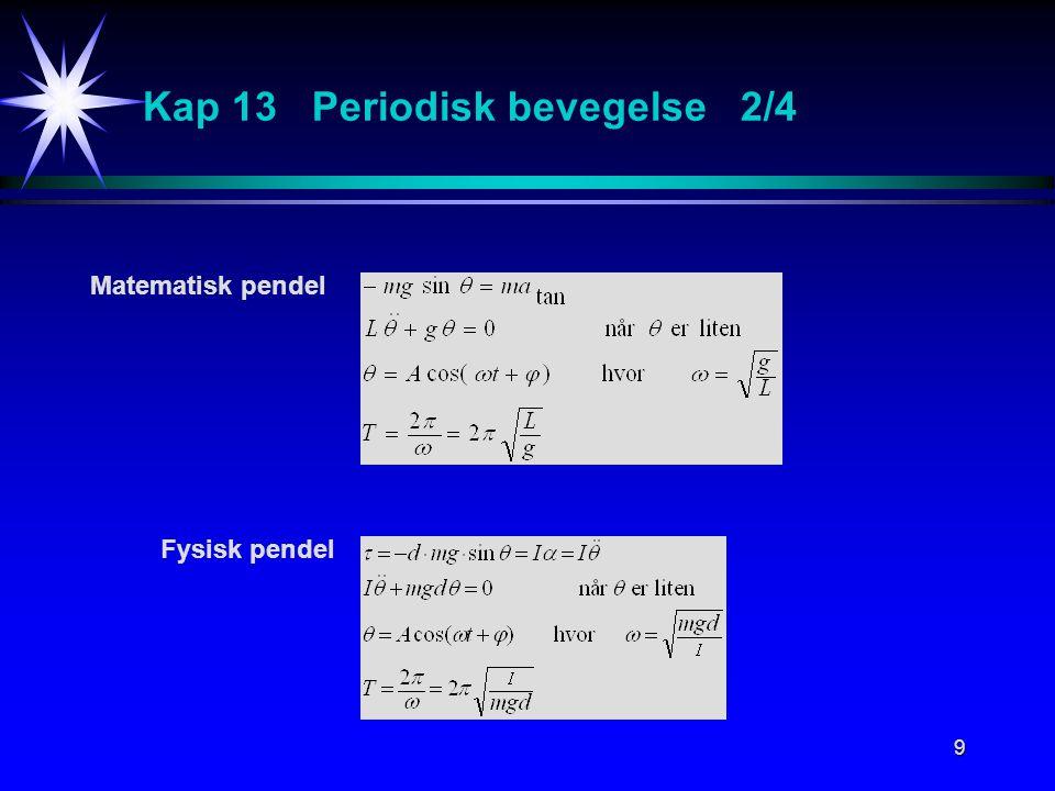 9 Kap 13 Periodisk bevegelse 2/4 Matematisk pendel Fysisk pendel