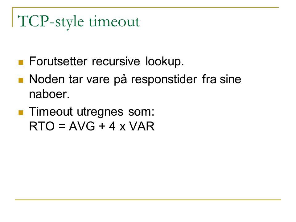 TCP-style timeout Forutsetter recursive lookup.Noden tar vare på responstider fra sine naboer.