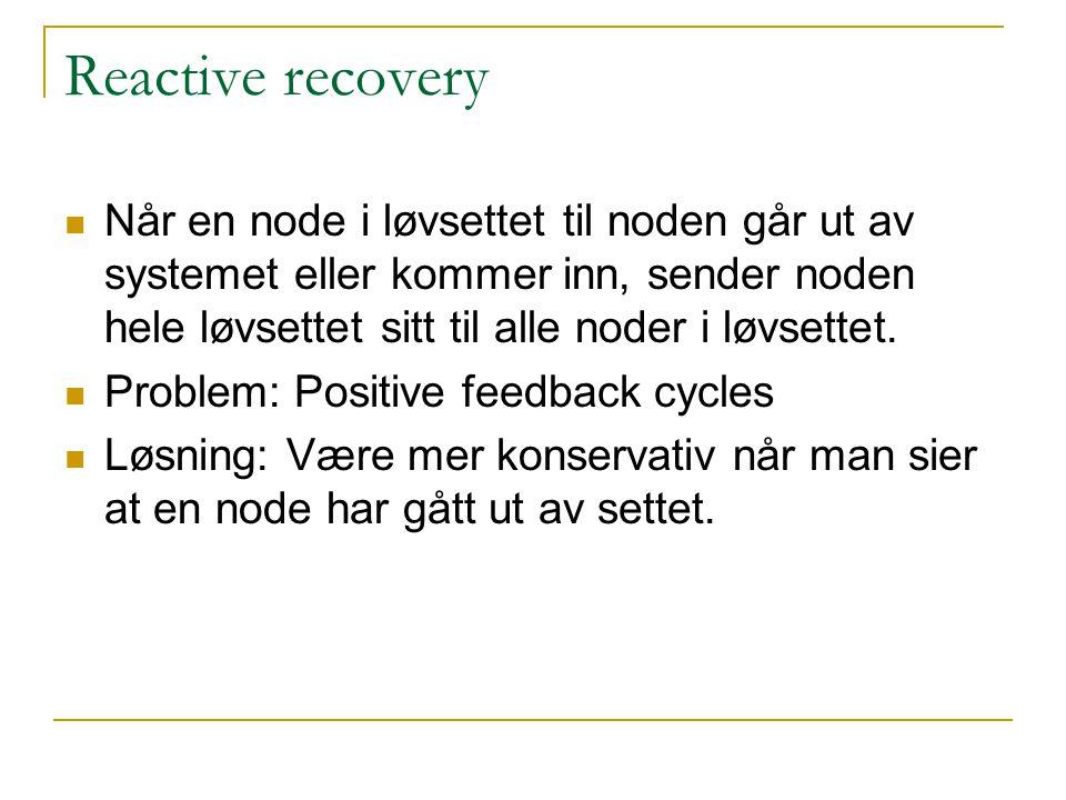 Reactive recovery Når en node i løvsettet til noden går ut av systemet eller kommer inn, sender noden hele løvsettet sitt til alle noder i løvsettet.