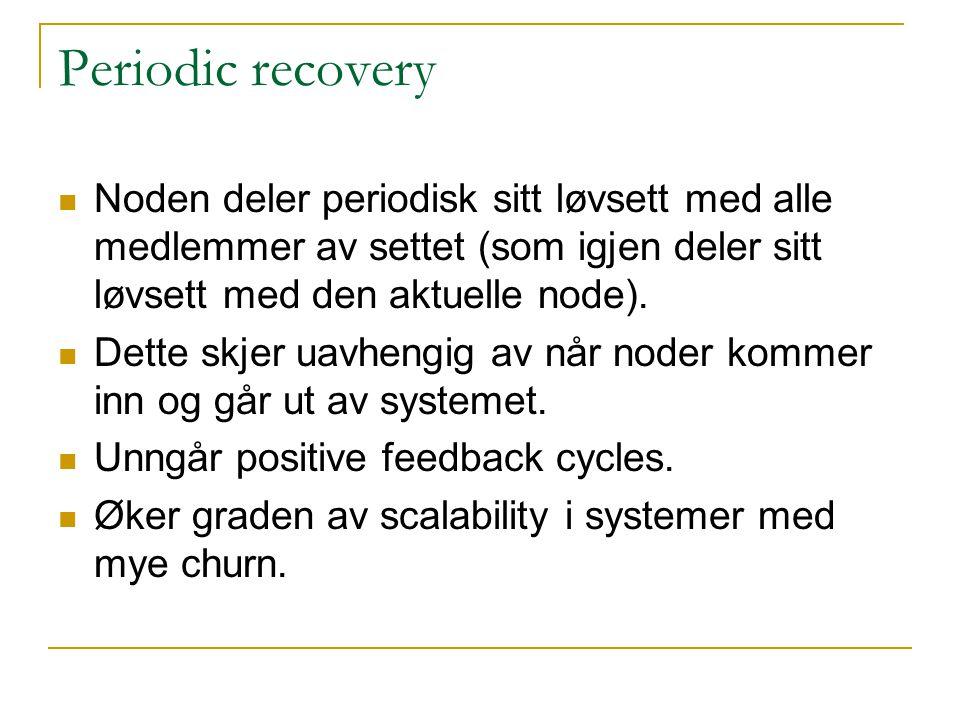 Periodic recovery Noden deler periodisk sitt løvsett med alle medlemmer av settet (som igjen deler sitt løvsett med den aktuelle node).