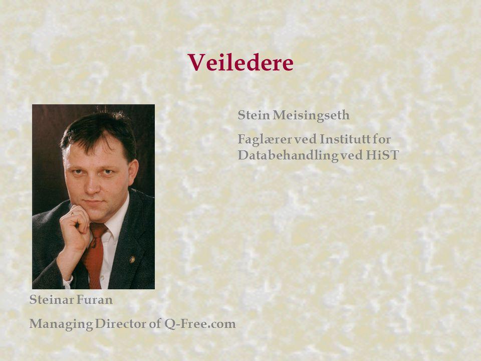 Veiledere Steinar Furan Managing Director of Q-Free.com Stein Meisingseth Faglærer ved Institutt for Databehandling ved HiST