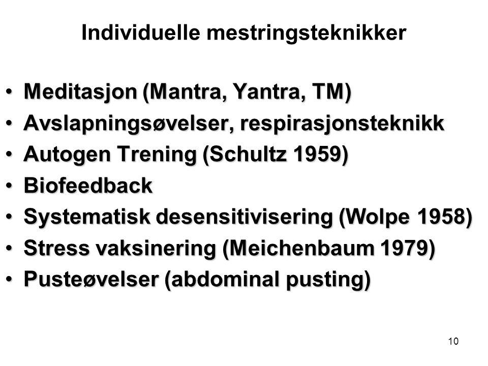 10 Individuelle mestringsteknikker Meditasjon (Mantra, Yantra, TM)Meditasjon (Mantra, Yantra, TM) Avslapningsøvelser, respirasjonsteknikkAvslapningsøv