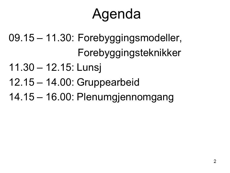 2 Agenda 09.15 – 11.30: Forebyggingsmodeller, Forebyggingsteknikker 11.30 – 12.15: Lunsj 12.15 – 14.00: Gruppearbeid 14.15 – 16.00: Plenumgjennomgang