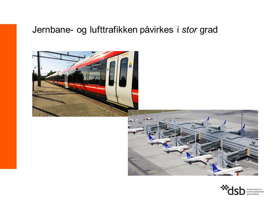 Jernbane- og lufttrafikken påvirkes i stor grad