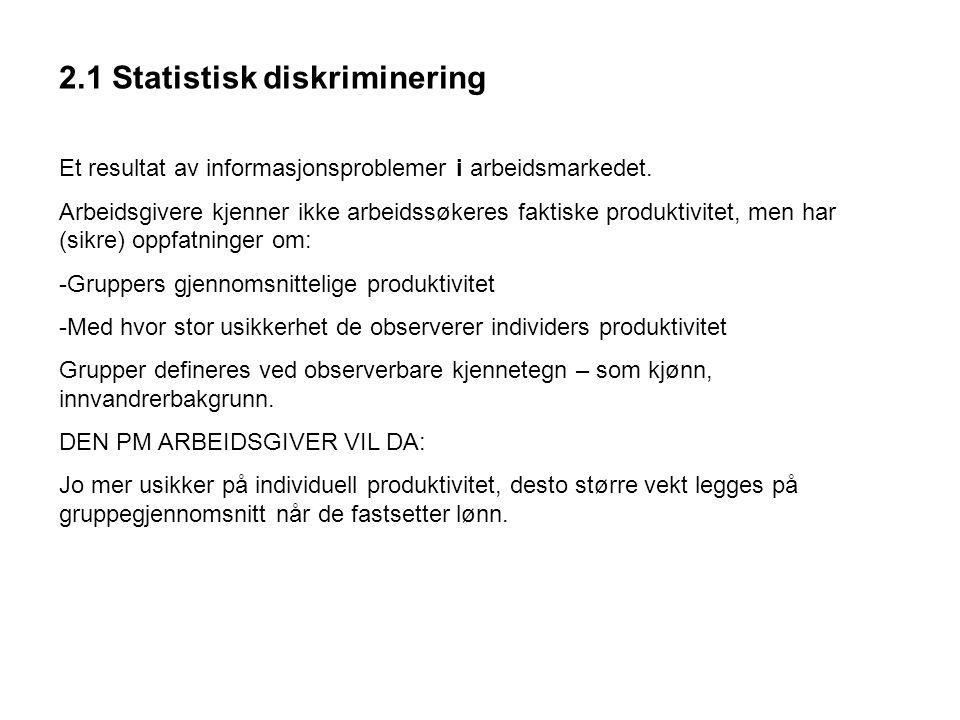 2.1 Statistisk diskriminering Et resultat av informasjonsproblemer i arbeidsmarkedet.