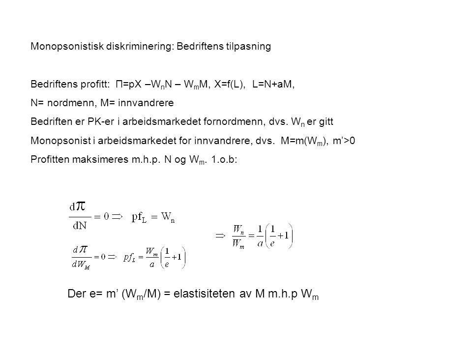 Monopsonistisk diskriminering: Bedriftens tilpasning Bedriftens profitt: Π=pX –W n N – W m M, X=f(L), L=N+aM, N= nordmenn, M= innvandrere Bedriften er PK-er i arbeidsmarkedet fornordmenn, dvs.