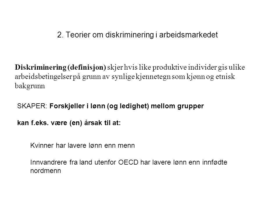 2. Teorier om diskriminering i arbeidsmarkedet Kvinner har lavere lønn enn menn Innvandrere fra land utenfor OECD har lavere lønn enn innfødte nordmen