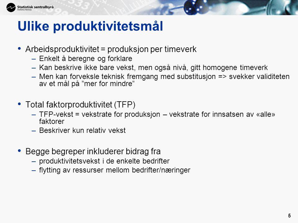 5 Ulike produktivitetsmål Arbeidsproduktivitet = produksjon per timeverk –Enkelt å beregne og forklare –Kan beskrive ikke bare vekst, men også nivå, gitt homogene timeverk –Men kan forveksle teknisk fremgang med substitusjon => svekker validiteten av et mål på mer for mindre Total faktorproduktivitet (TFP) –TFP-vekst = vekstrate for produksjon – vekstrate for innsatsen av «alle» faktorer –Beskriver kun relativ vekst Begge begreper inkluderer bidrag fra –produktivitetsvekst i de enkelte bedrifter –flytting av ressurser mellom bedrifter/næringer