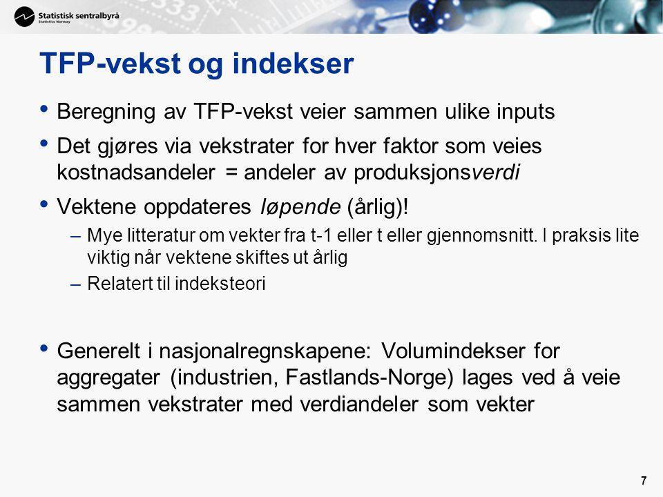 TFP-vekst og indekser Beregning av TFP-vekst veier sammen ulike inputs Det gjøres via vekstrater for hver faktor som veies kostnadsandeler = andeler av produksjonsverdi Vektene oppdateres løpende (årlig).
