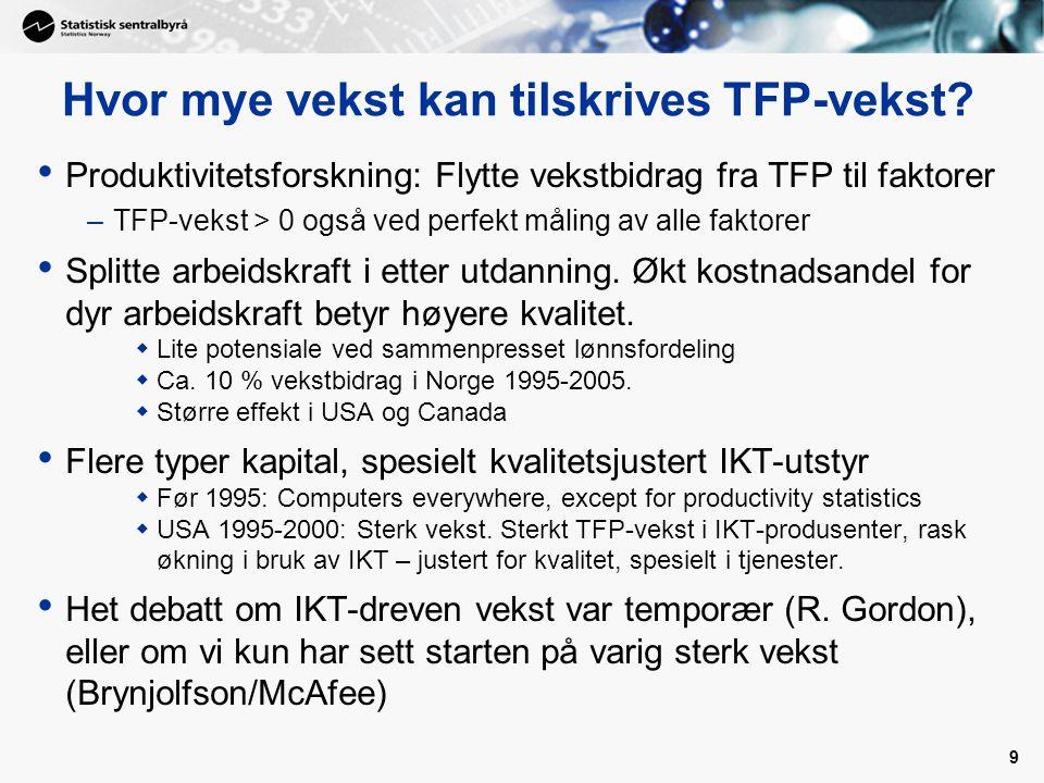 Hvor mye vekst kan tilskrives TFP-vekst? Produktivitetsforskning: Flytte vekstbidrag fra TFP til faktorer –TFP-vekst > 0 også ved perfekt måling av al