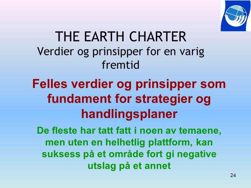 THE EARTH CHARTER Verdier og prinsipper for en varig fremtid Felles verdier og prinsipper som fundament for strategier og handlingsplaner De fleste ha