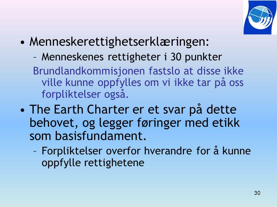 Menneskerettighetserklæringen: –Menneskenes rettigheter i 30 punkter Brundlandkommisjonen fastslo at disse ikke ville kunne oppfylles om vi ikke tar p