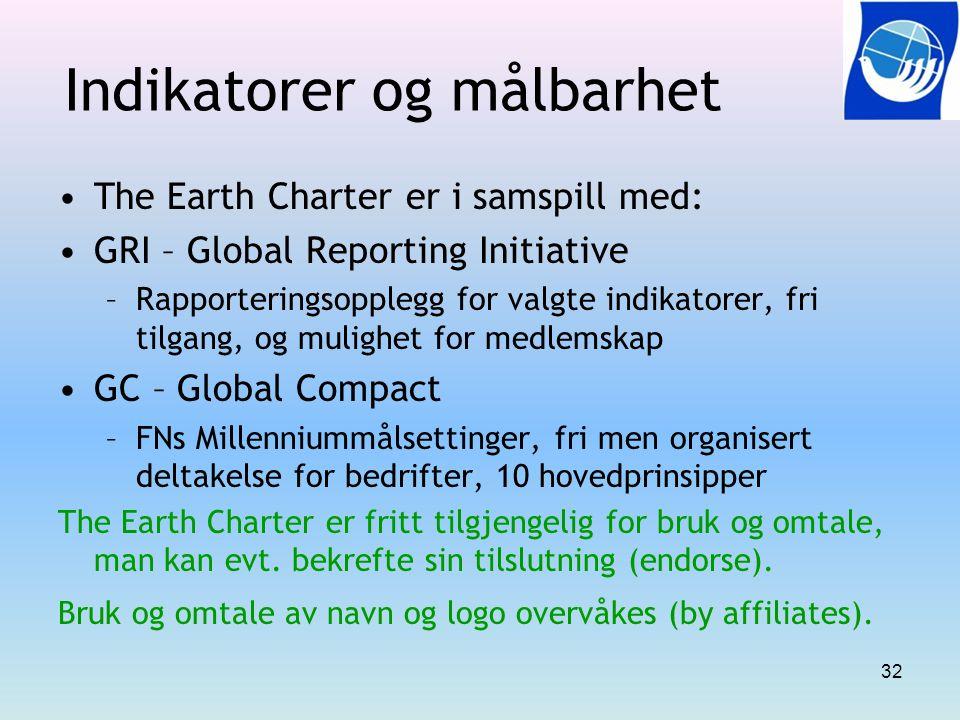 Indikatorer og målbarhet The Earth Charter er i samspill med: GRI – Global Reporting Initiative –Rapporteringsopplegg for valgte indikatorer, fri tilg