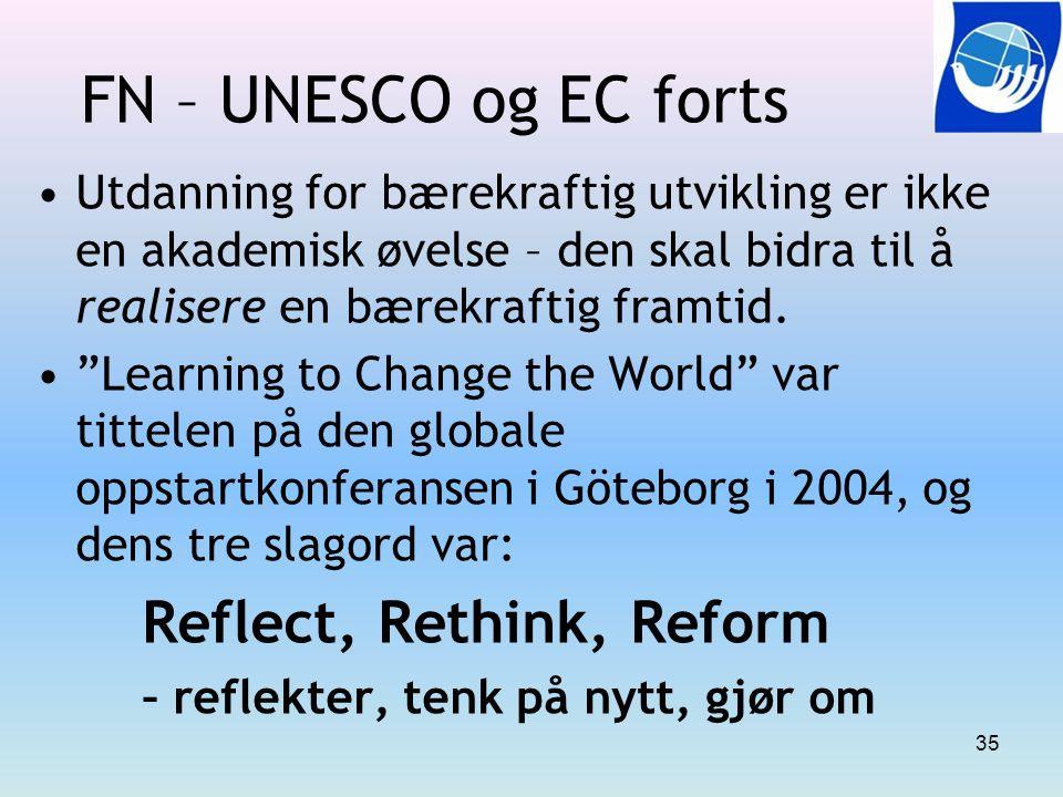 """FN – UNESCO og EC forts Utdanning for bærekraftig utvikling er ikke en akademisk øvelse – den skal bidra til å realisere en bærekraftig framtid. """"Lear"""