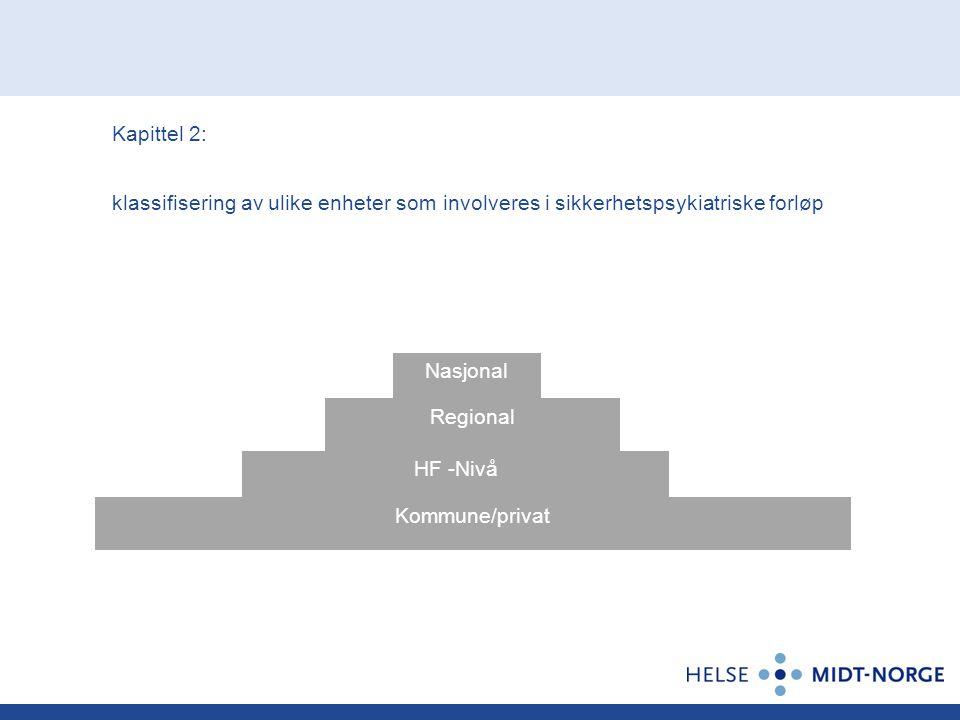 Kapittel 2: klassifisering av ulike enheter som involveres i sikkerhetspsykiatriske forløp Nasjonal Regional HF -Nivå Kommune/privat