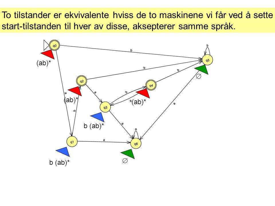To tilstander er ekvivalente hviss de to maskinene vi får ved å sette start-tilstanden til hver av disse, aksepterer samme språk.