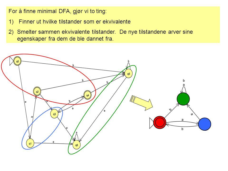 For å finne minimal DFA, gjør vi to ting: 1) Finner ut hvilke tilstander som er ekvivalente 2)Smelter sammen ekvivalente tilstander.