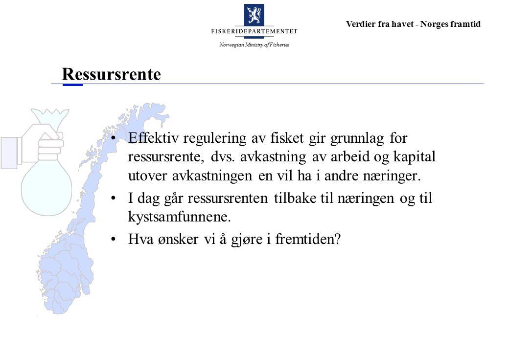 Norwegian Ministry of Fisheries Verdier fra havet - Norges framtid Ressursrente Effektiv regulering av fisket gir grunnlag for ressursrente, dvs.