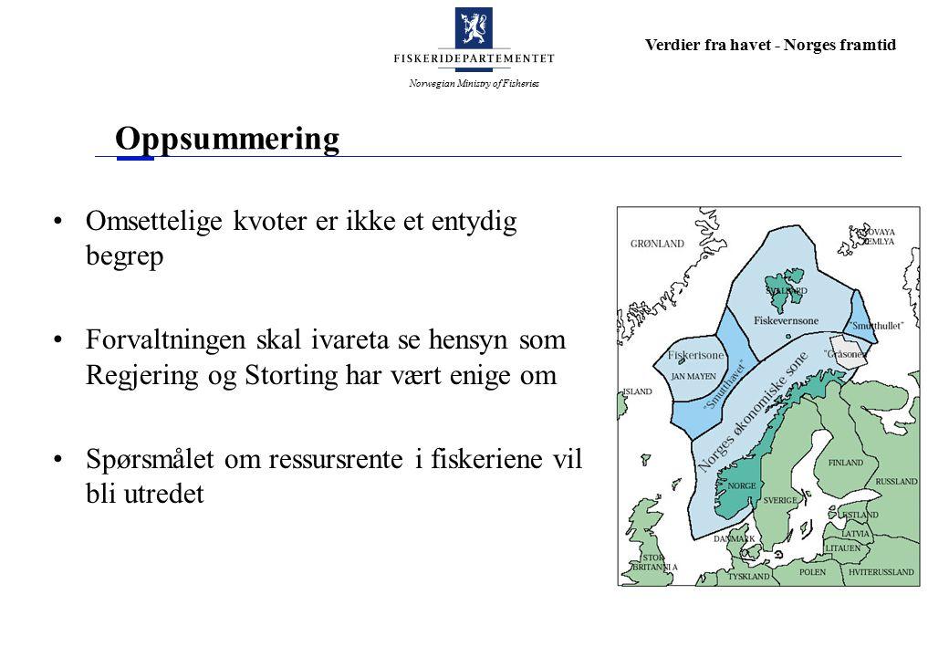 Norwegian Ministry of Fisheries Verdier fra havet - Norges framtid Oppsummering Omsettelige kvoter er ikke et entydig begrep Forvaltningen skal ivareta se hensyn som Regjering og Storting har vært enige om Spørsmålet om ressursrente i fiskeriene vil bli utredet