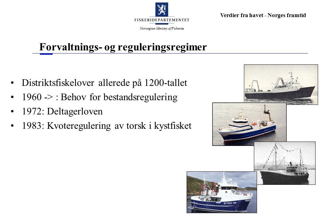 Norwegian Ministry of Fisheries Verdier fra havet - Norges framtid Forvaltnings- og reguleringsregimer Distriktsfiskelover allerede på 1200-tallet 1960 -> : Behov for bestandsregulering 1972: Deltagerloven 1983: Kvoteregulering av torsk i kystfisket
