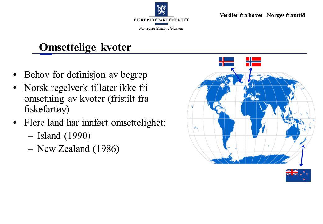Norwegian Ministry of Fisheries Verdier fra havet - Norges framtid Omsettelige kvoter Behov for definisjon av begrep Norsk regelverk tillater ikke fri omsetning av kvoter (fristilt fra fiskefartøy) Flere land har innført omsettelighet: –Island (1990) –New Zealand (1986)