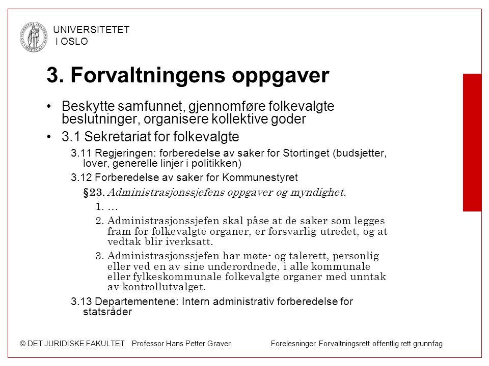© DET JURIDISKE FAKULTET Professor Hans Petter Graver Forelesninger Forvaltningsrett offentlig rett grunnfag UNIVERSITETET I OSLO 3. Forvaltningens op