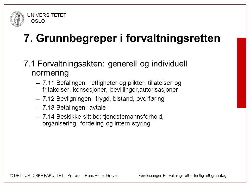 © DET JURIDISKE FAKULTET Professor Hans Petter Graver Forelesninger Forvaltningsrett offentlig rett grunnfag UNIVERSITETET I OSLO 7. Grunnbegreper i f