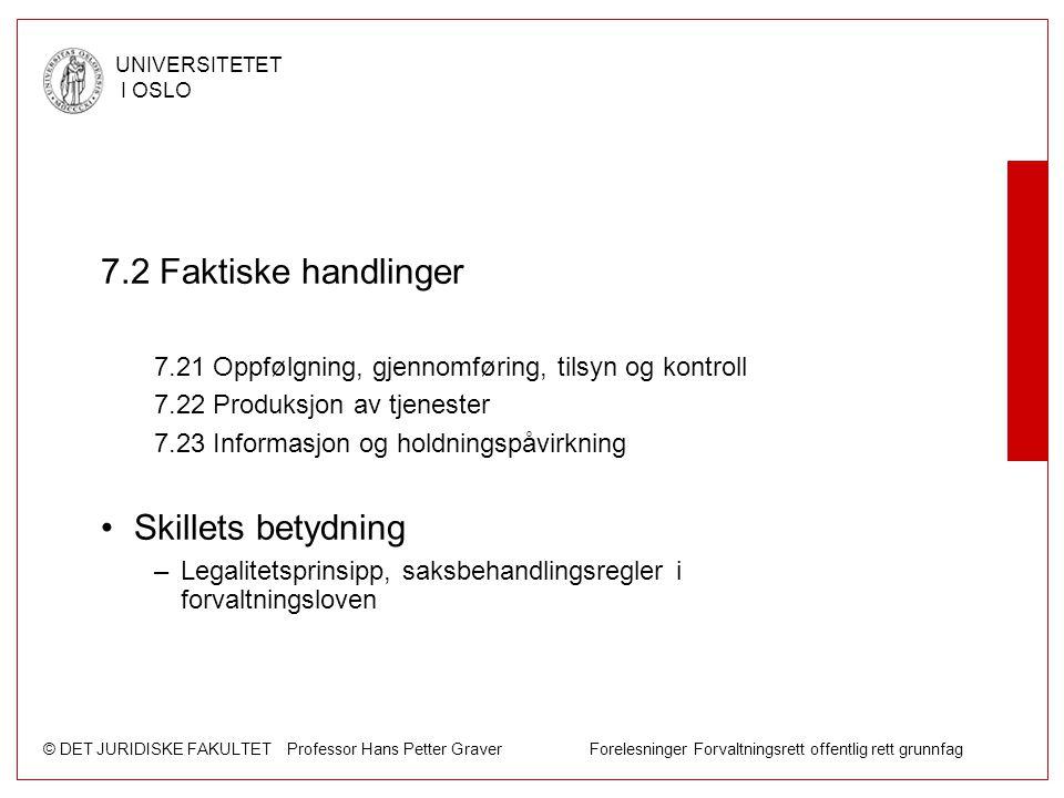 © DET JURIDISKE FAKULTET Professor Hans Petter Graver Forelesninger Forvaltningsrett offentlig rett grunnfag UNIVERSITETET I OSLO 7.2 Faktiske handlin