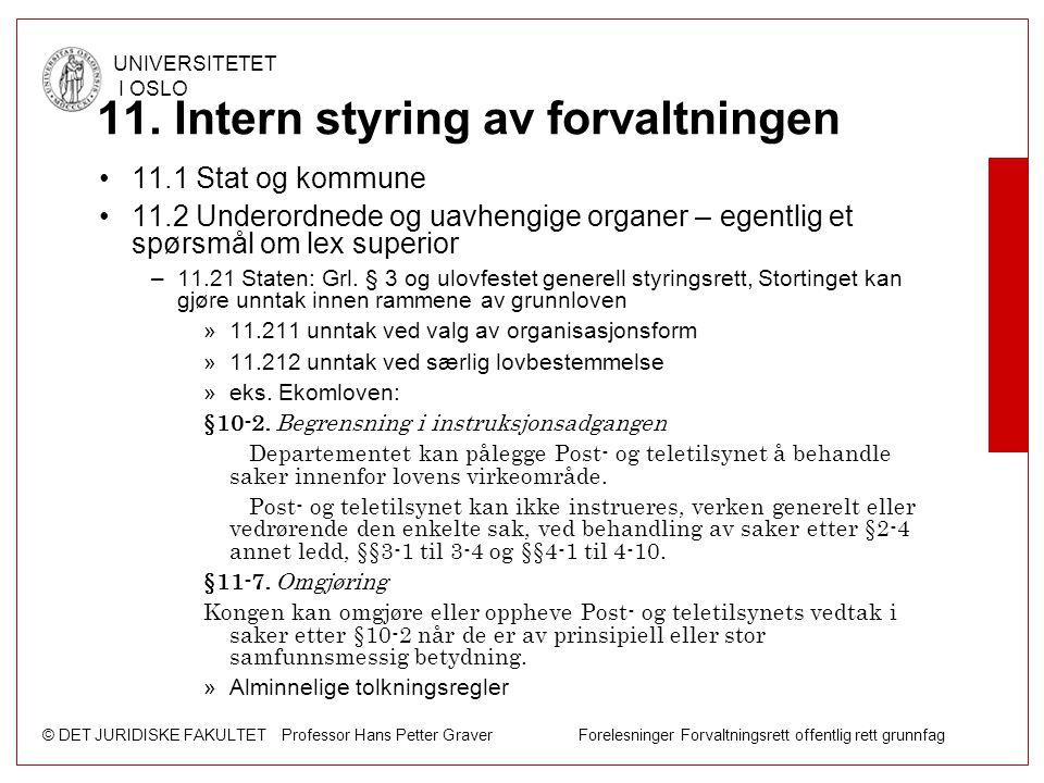 © DET JURIDISKE FAKULTET Professor Hans Petter Graver Forelesninger Forvaltningsrett offentlig rett grunnfag UNIVERSITETET I OSLO 11. Intern styring a