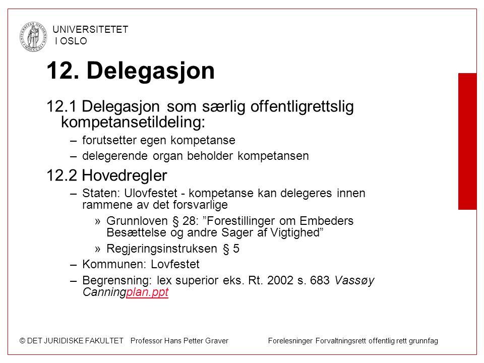© DET JURIDISKE FAKULTET Professor Hans Petter Graver Forelesninger Forvaltningsrett offentlig rett grunnfag UNIVERSITETET I OSLO 12. Delegasjon 12.1