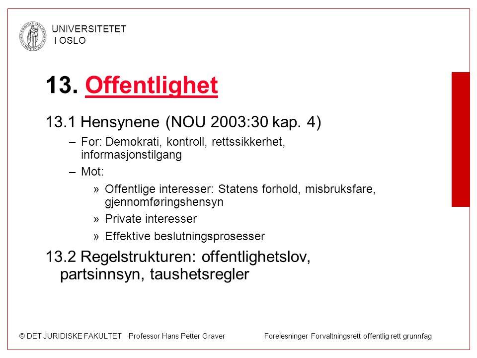 © DET JURIDISKE FAKULTET Professor Hans Petter Graver Forelesninger Forvaltningsrett offentlig rett grunnfag UNIVERSITETET I OSLO 13. OffentlighetOffe