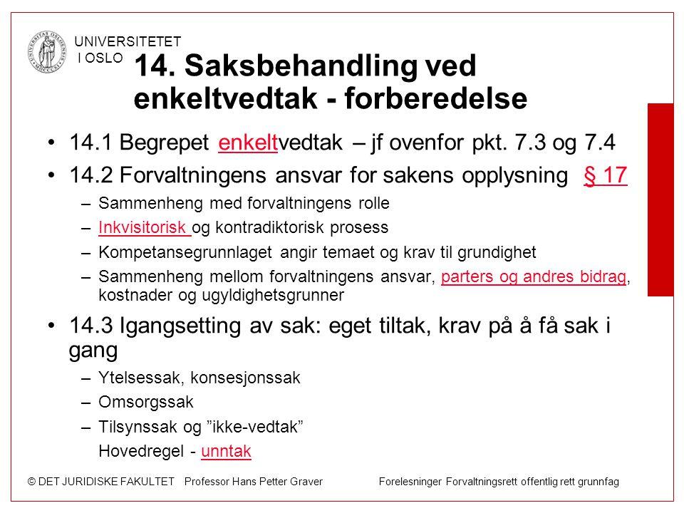 © DET JURIDISKE FAKULTET Professor Hans Petter Graver Forelesninger Forvaltningsrett offentlig rett grunnfag UNIVERSITETET I OSLO 14. Saksbehandling v