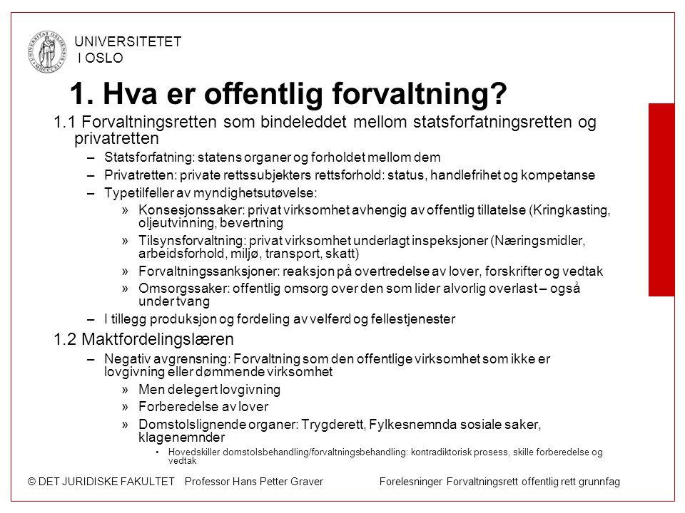 © DET JURIDISKE FAKULTET Professor Hans Petter Graver Forelesninger Forvaltningsrett offentlig rett grunnfag UNIVERSITETET I OSLO 1. Hva er offentlig