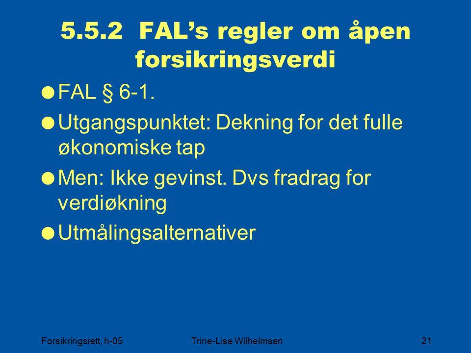 Forsikringsrett, h-05Trine-Lise Wilhelmsen21 5.5.2 FAL's regler om åpen forsikringsverdi  FAL § 6-1.