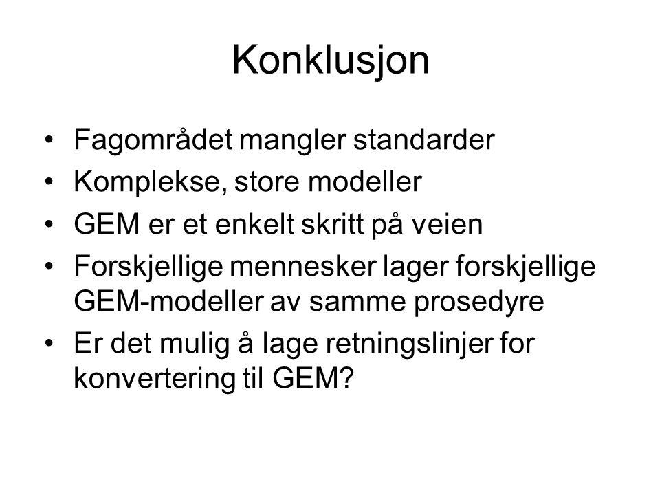 Konklusjon Fagområdet mangler standarder Komplekse, store modeller GEM er et enkelt skritt på veien Forskjellige mennesker lager forskjellige GEM-modeller av samme prosedyre Er det mulig å lage retningslinjer for konvertering til GEM