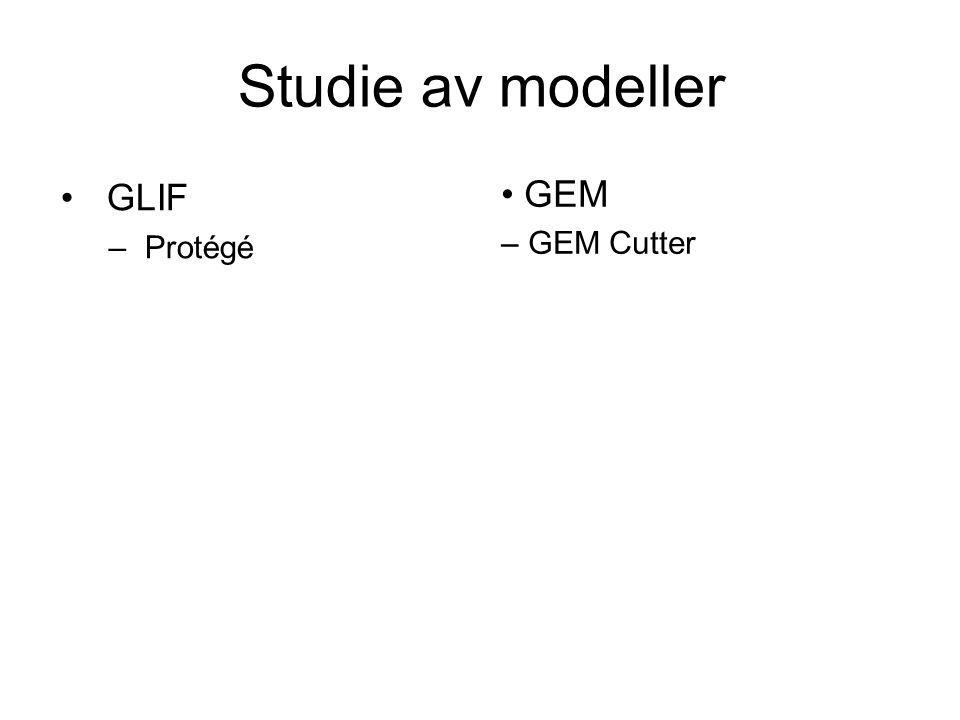 Utfordringer Spesifikasjoner for modeller vanskelig tilgjengelige Modeller store og komplekse Verktøy er store og komplekse Begrenset domenekunnskap om modellene Mange ulike modeller å velge mellom Modellene benytter mange ulike formalismer og syntakser Ingen ting er standardisert og stabilt