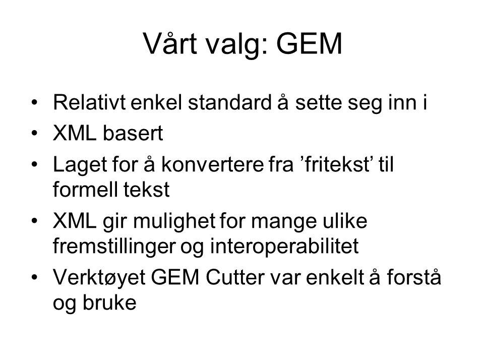 Vårt valg: GEM Relativt enkel standard å sette seg inn i XML basert Laget for å konvertere fra 'fritekst' til formell tekst XML gir mulighet for mange ulike fremstillinger og interoperabilitet Verktøyet GEM Cutter var enkelt å forstå og bruke