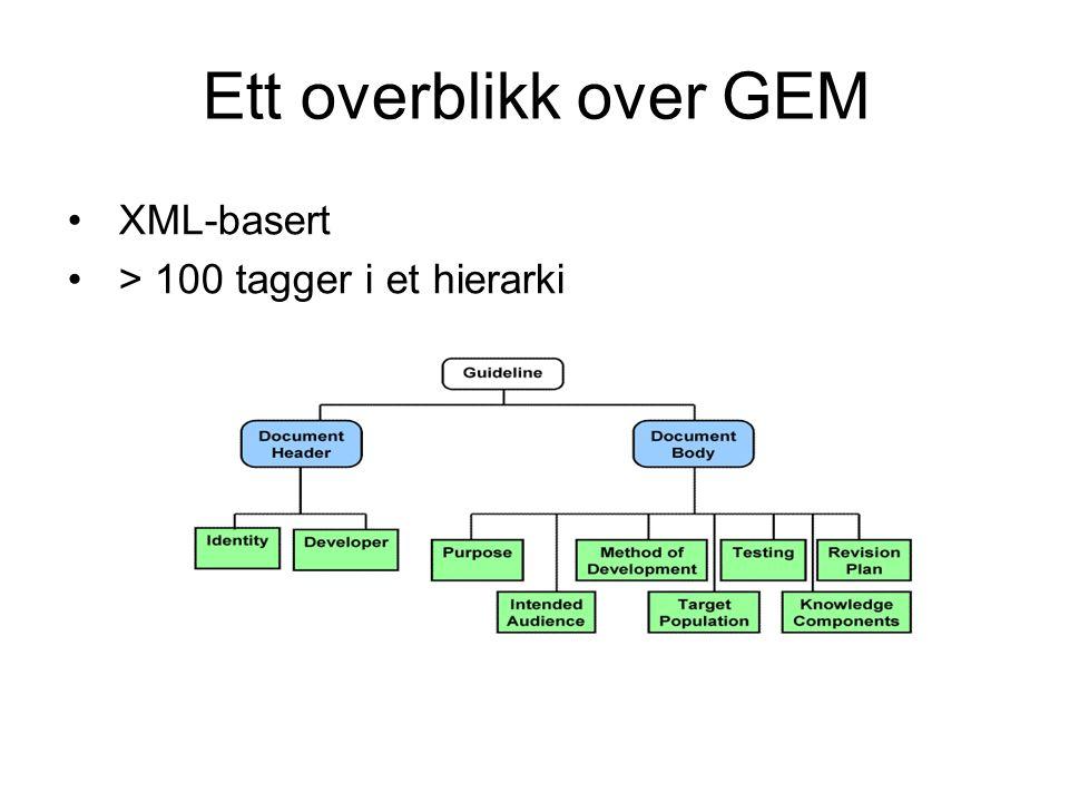 Ett overblikk over GEM XML-basert > 100 tagger i et hierarki
