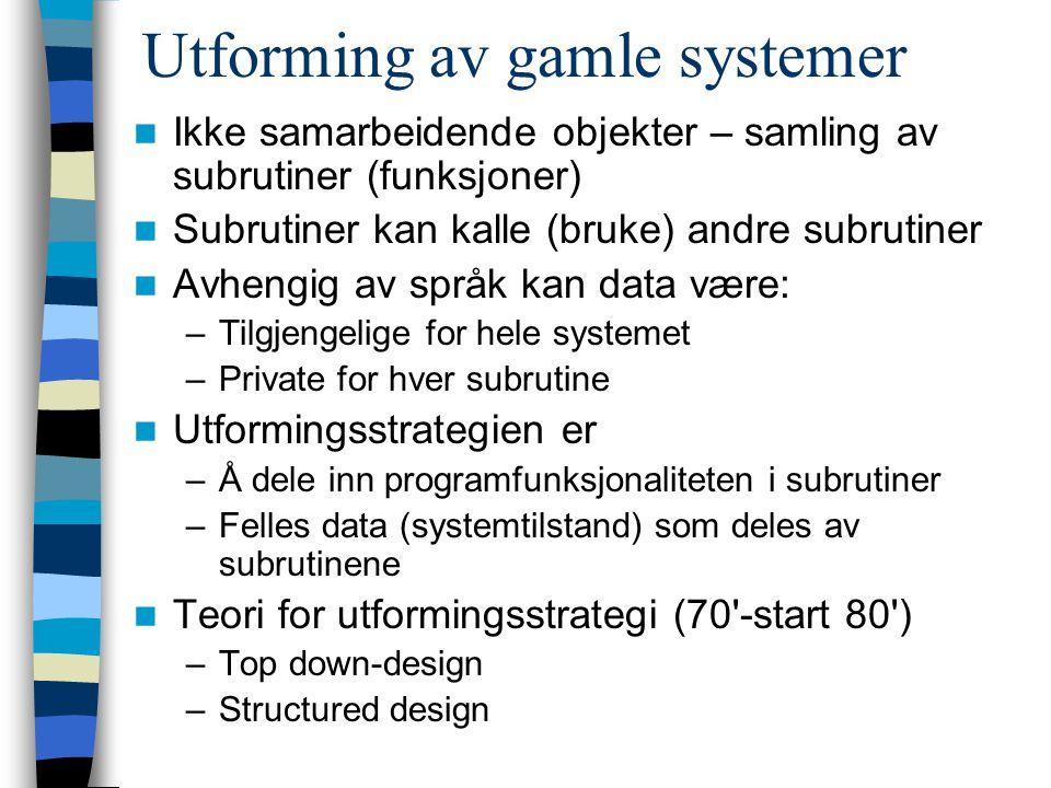 Utforming av gamle systemer Ikke samarbeidende objekter – samling av subrutiner (funksjoner) Subrutiner kan kalle (bruke) andre subrutiner Avhengig av språk kan data være: –Tilgjengelige for hele systemet –Private for hver subrutine Utformingsstrategien er –Å dele inn programfunksjonaliteten i subrutiner –Felles data (systemtilstand) som deles av subrutinene Teori for utformingsstrategi (70 -start 80 ) –Top down-design –Structured design