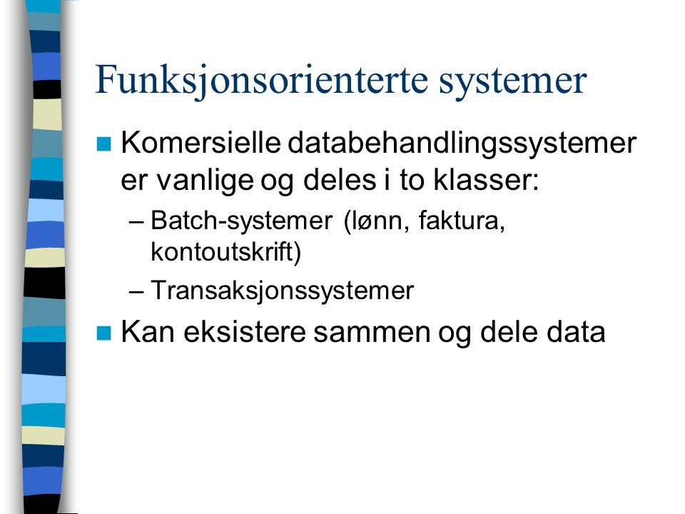 Funksjonsorienterte systemer Komersielle databehandlingssystemer er vanlige og deles i to klasser: –Batch-systemer (lønn, faktura, kontoutskrift) –Transaksjonssystemer Kan eksistere sammen og dele data
