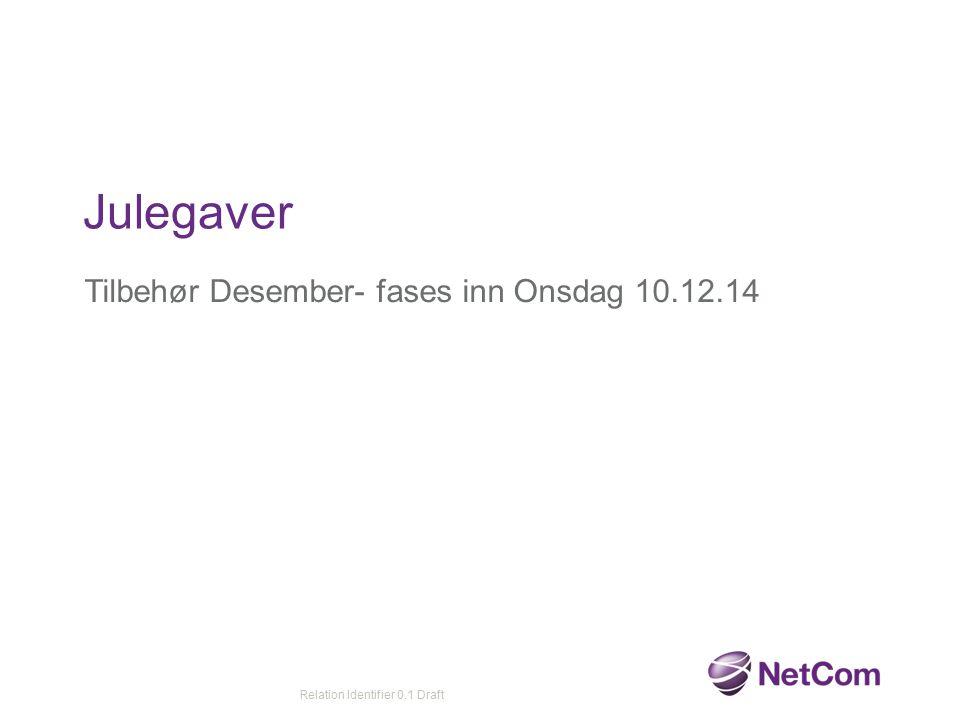 Tilbehør Desember- fases inn Onsdag 10.12.14 Julegaver Relation Identifier 0.1 Draft