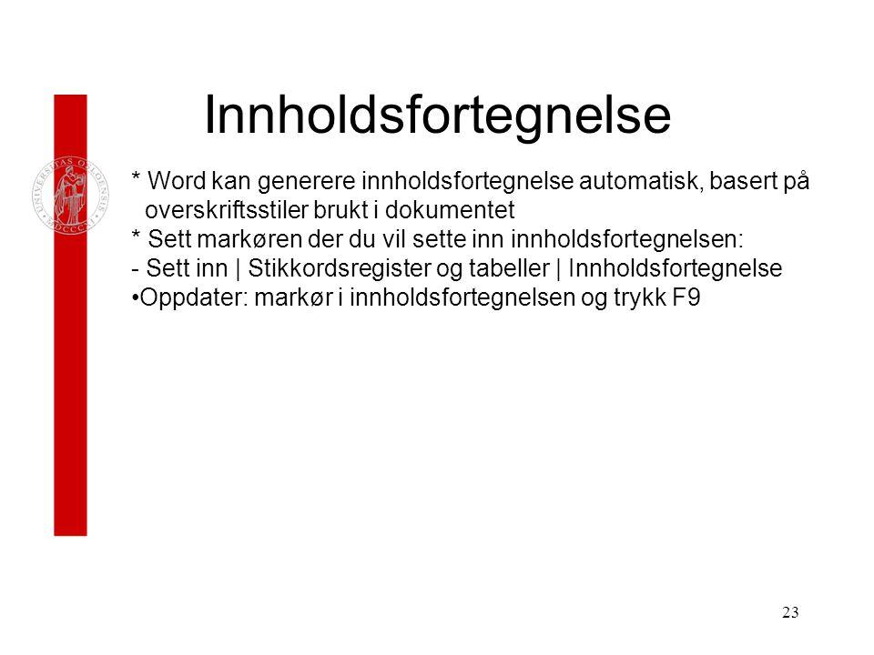 innholdsfortegnelse i word 2014