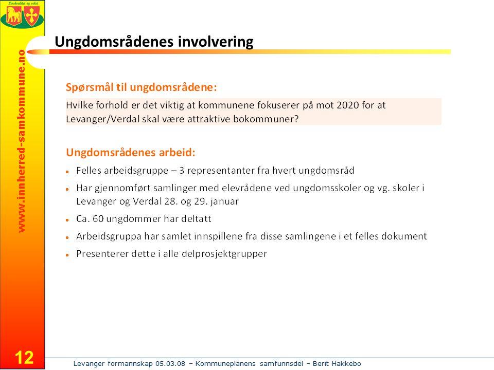 www.innherred-samkommune.no Levanger formannskap 05.03.08 – Kommuneplanens samfunnsdel – Berit Hakkebo 12 Ungdomsrådenes involvering