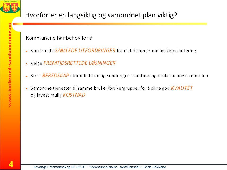 www.innherred-samkommune.no Levanger formannskap 05.03.08 – Kommuneplanens samfunnsdel – Berit Hakkebo 4 Hvorfor er en langsiktig og samordnet plan vi